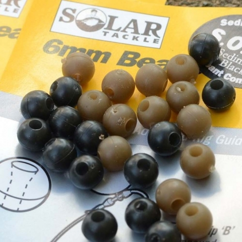 Solar Tackle - Rubber Beads - Black - 6mm
