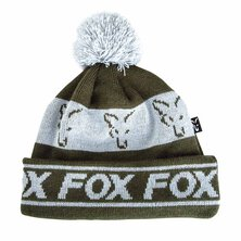 Fox - Green/Silver - Lined Bobble Hat