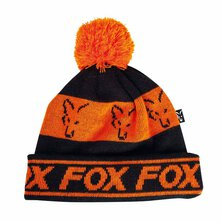 Fox - Black/Orange - Lined Bobble Hat